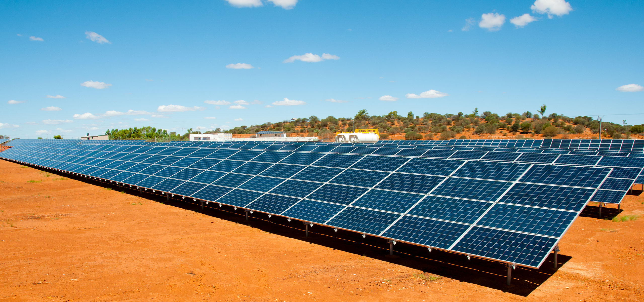 Solar panels and red dirt