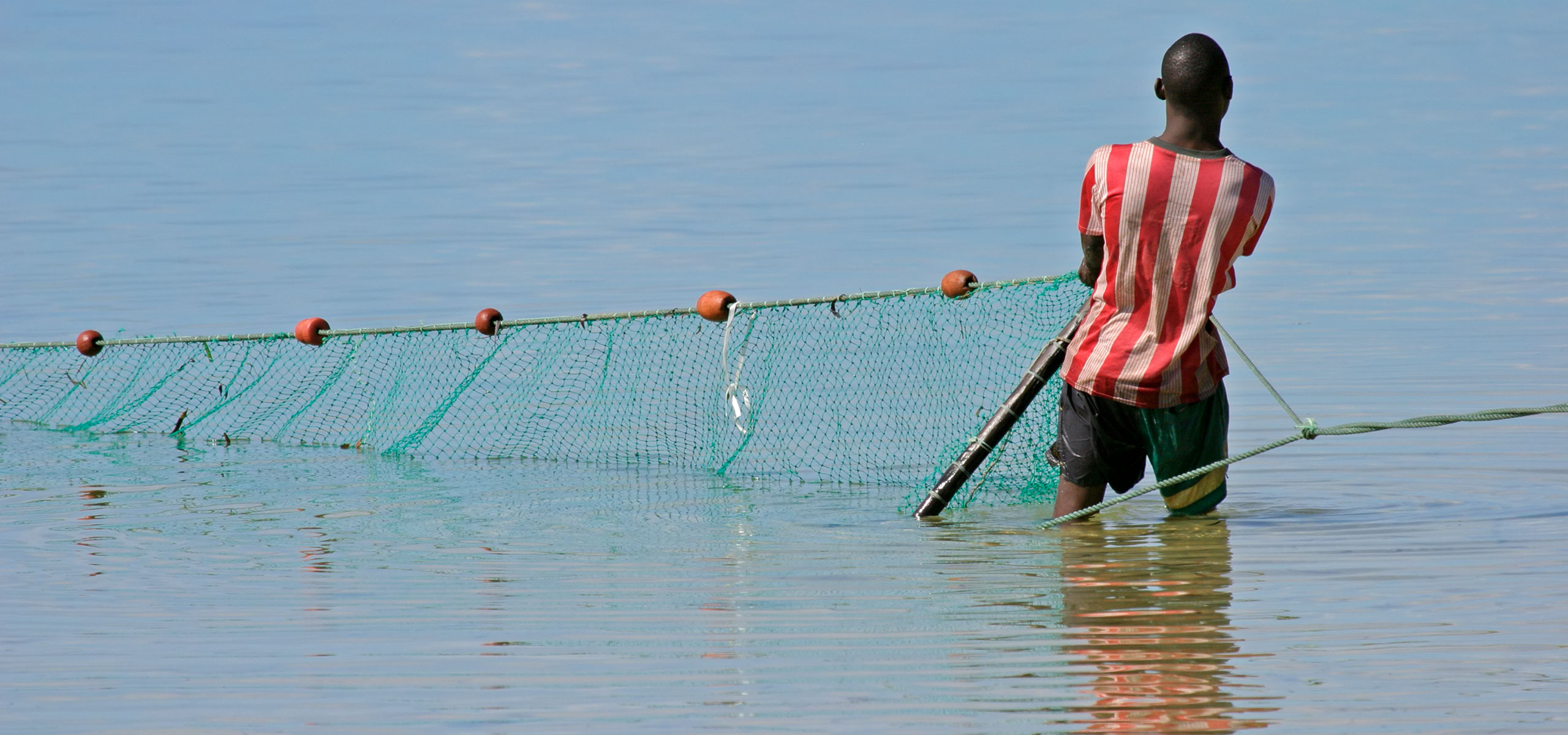 African fisherman pulling in net from water