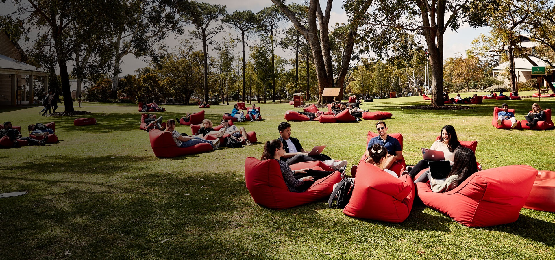 Students sitting on beanbags in Bush Court