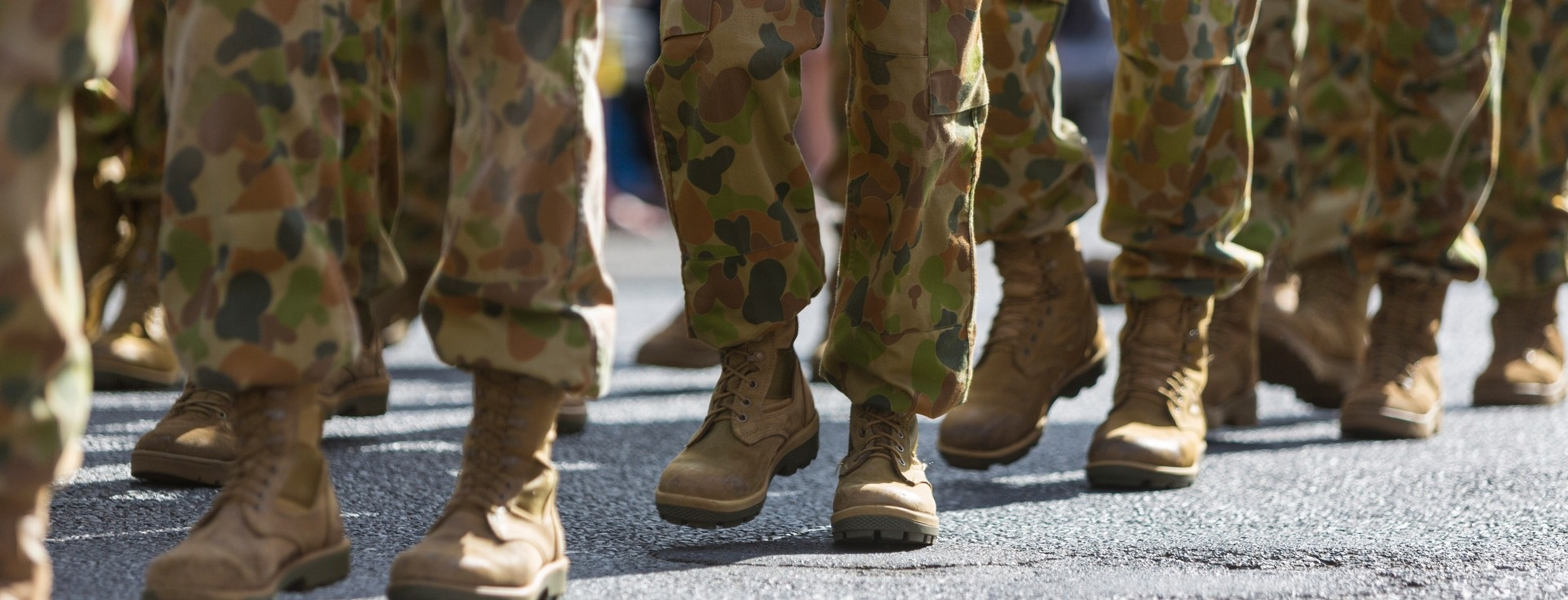 Feet of soldiers marching at ANZAC day