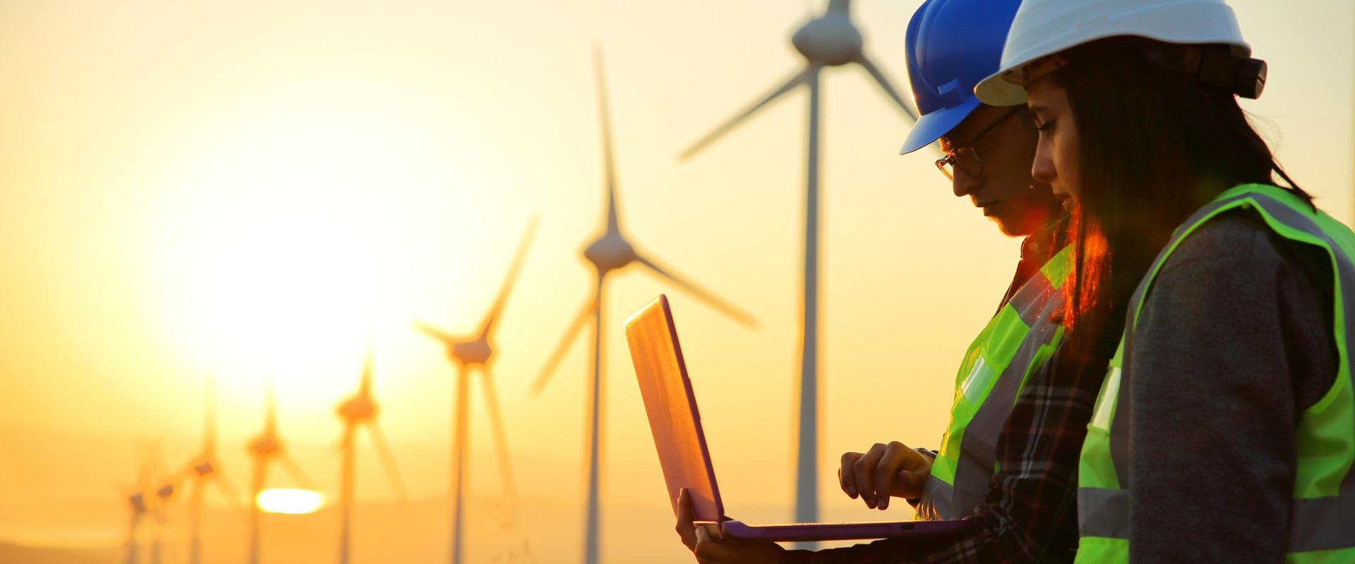 清洁 - 能源风电场 - 黄昏
