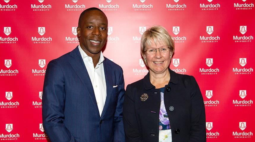 Mr Kojo Anna, keynote speaker at the 2019 Africa Australia, with Murdoch University Vice Chancellor Eeva Leinonen