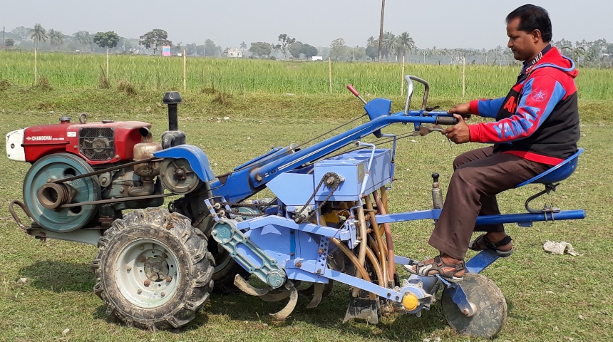 Ride on seeder machine developed for conservation agriculture