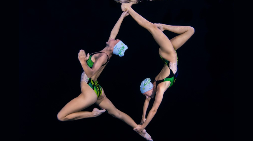 Amie Thompson performing a beautifully choreographed sequence of elaborate moves