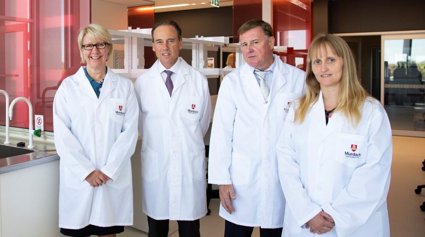 Professor Eeva Leinonen, Minister Greg Hunt, Professor Jeremy Nicholson and Professor Elaine Holmes