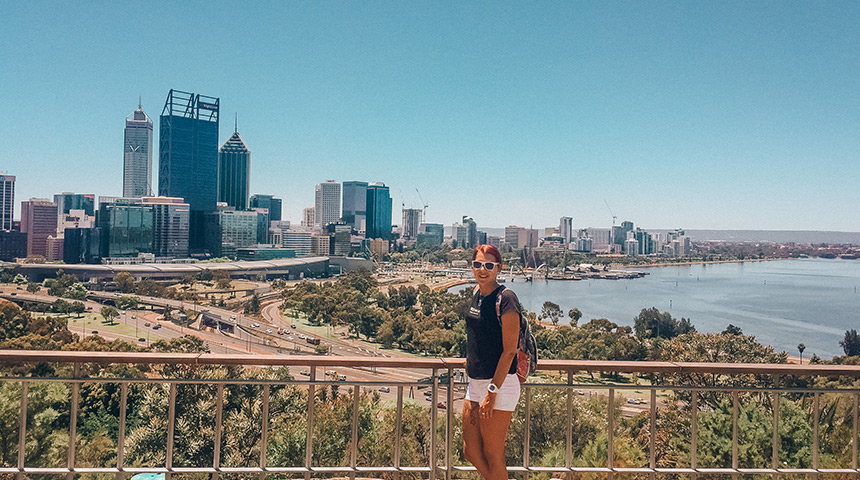 International student Rebecka Hillbertz posing at King's Park in front of Perth skyline