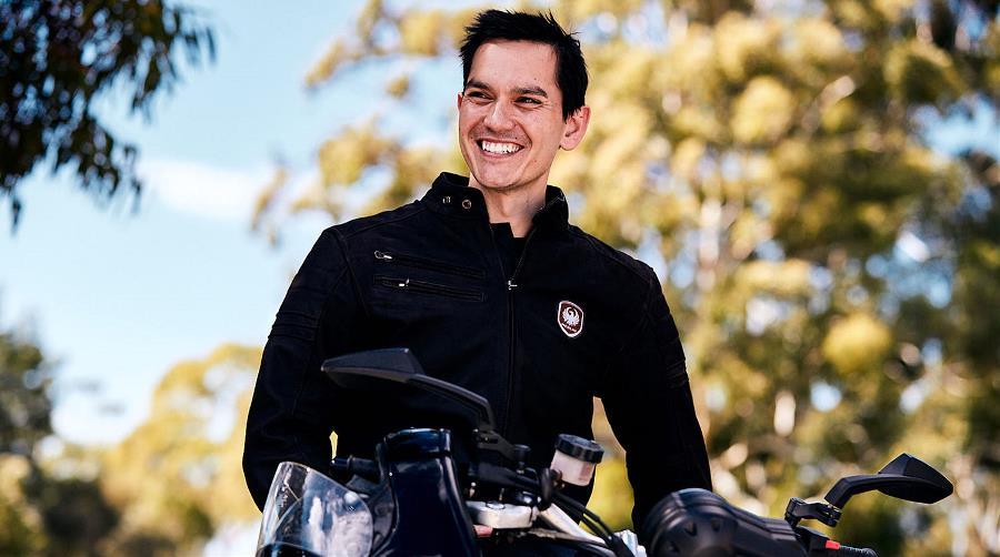 Ben Arrow sitting on a motorbike