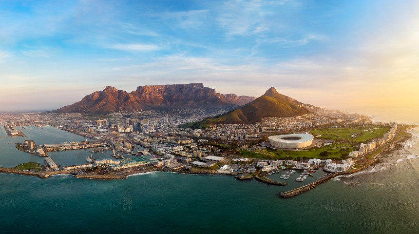 establishing aerial photograph of the city of Cape Town during sunset