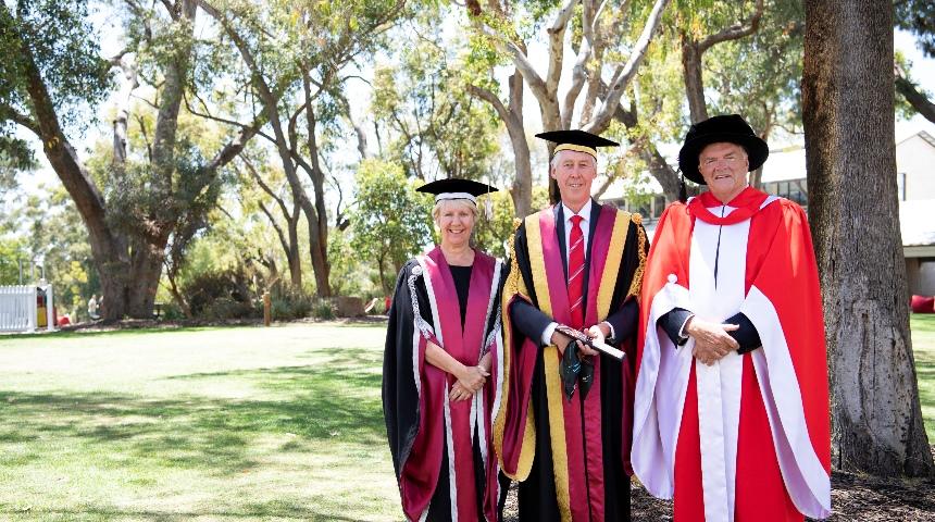 Murdoch University Chancellor Gary Smith, Vice Chancellor Eeva Leinonen and Governor Kim Beazley