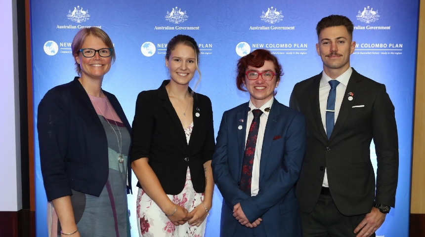 Student Mobility Officer (Outbound) Jeannette Geesman with Colombo Plan scholars, Katie Skinner, Axel Diamond and Connor Nicholson
