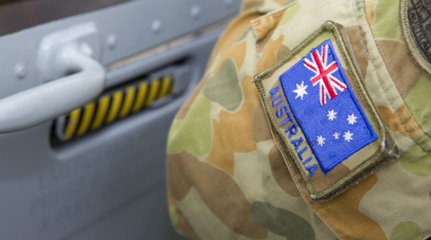 Australian flag patch of the sleeve of an army uniform