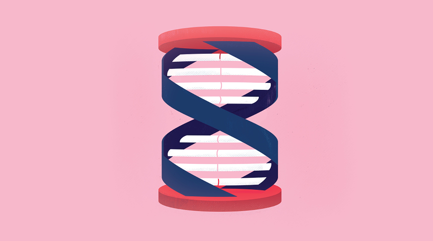 Illustration of a dna strand into a timer