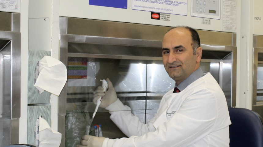 Dr Hamid Sohrabi testing samples in a lab