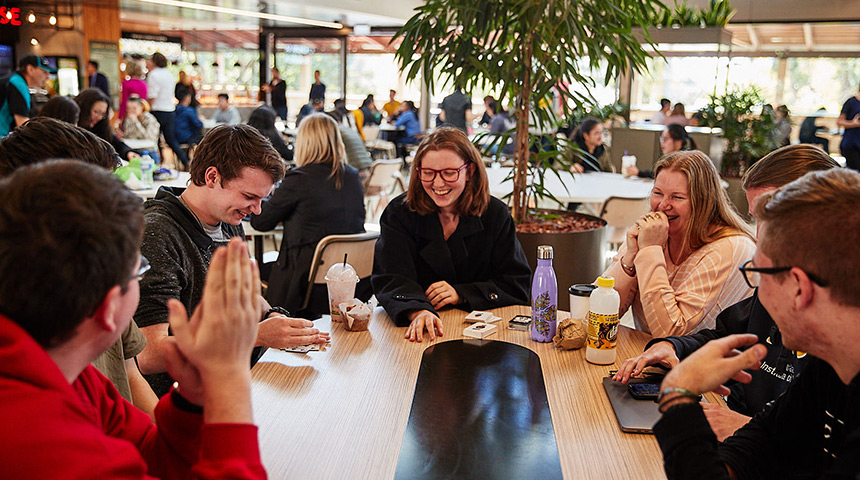 Students in the student hub