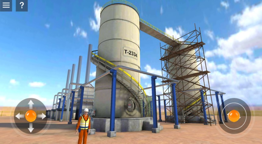 Virtual reality view of a construction plant