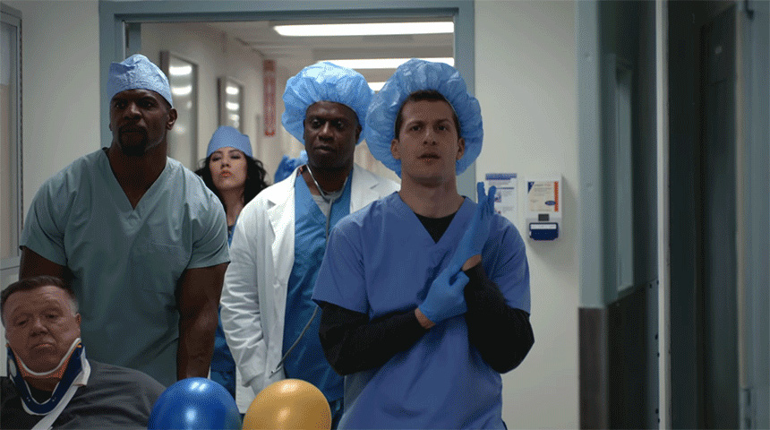 Characters of Brooklyn 99 dressed as medical professionals
