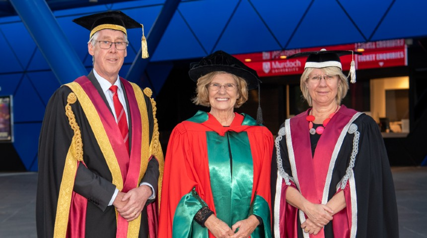 Chancellor, Lyn Beazley, Vice Chancellor in front of RAC Arena