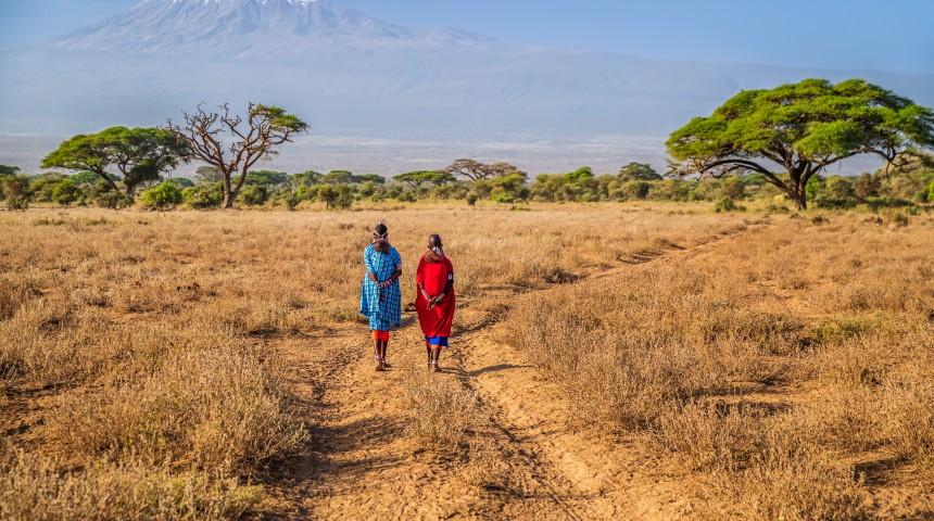 Maasai women crossing the savannah
