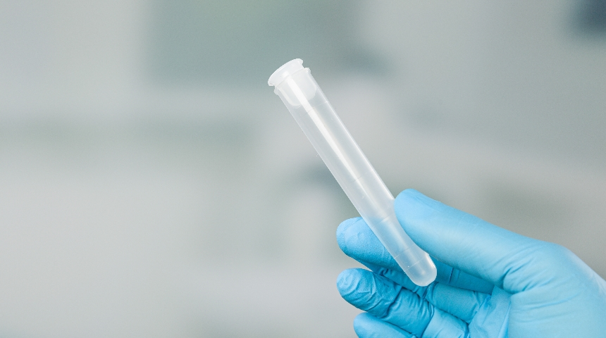 A gloved hand holding a test tube