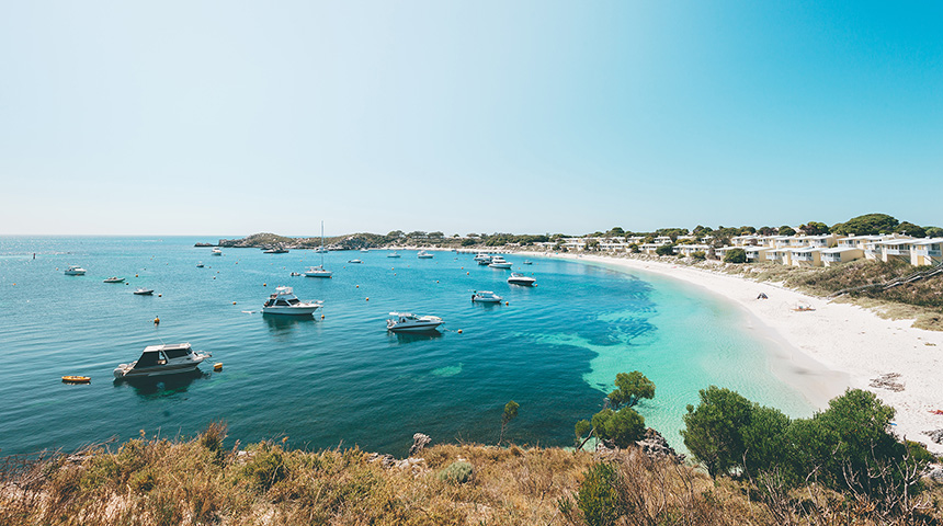 Photo of a bay with boats at Rottnest Island