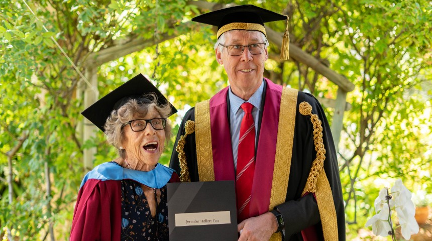 Jennie Cox and Chancellor Gary Smith and at-home graduation ceremony in Jennie's garden