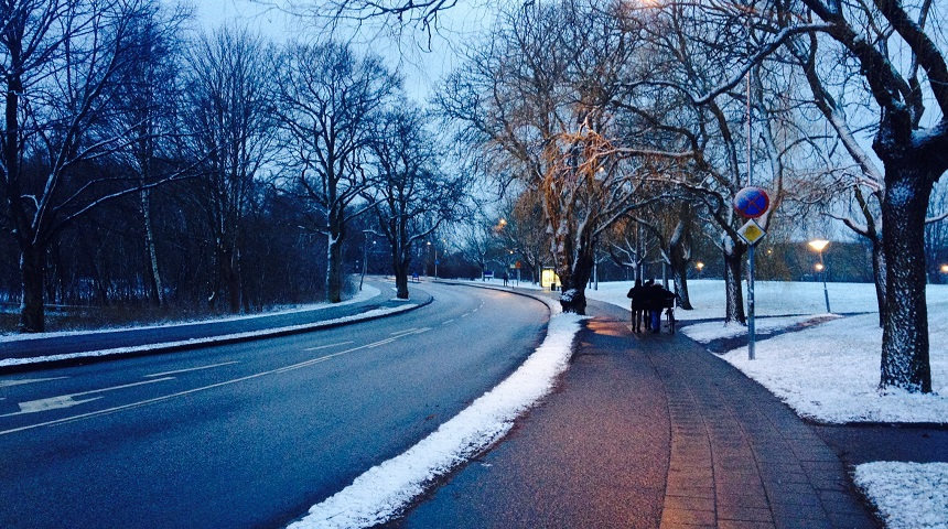 Snow-lined streets on the walk to Lund University
