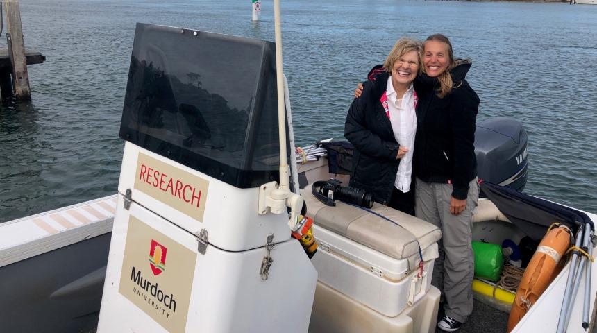 Lyn Beazley and Delphine Chabanne in the Murdoch research vessel