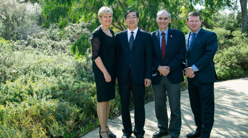 DVC International Lyn Karstadt, Qingdao Agricultural University President Song Xiyun, DVC Research and Innovation David Morrison and PVC Simon McKirdy, Harry Butler Institute