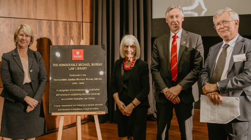 Murdoch University VC, Chancellor, Emeritus Professor and Justice Murray's wife stand by plaque