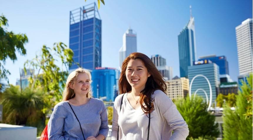 Murdoch students in Perth City
