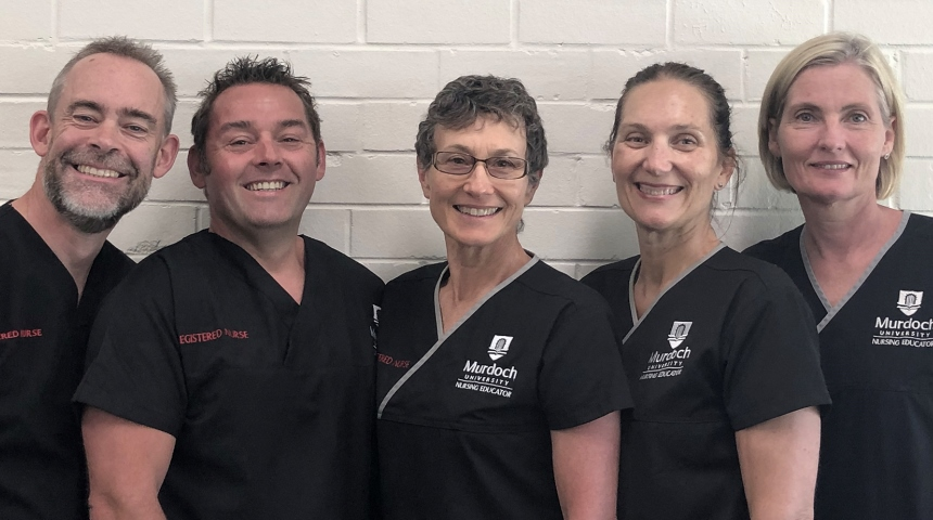 Nursing educators (from left) Cormac Norton, Martin Hopkins, Caroline Nilson, Prue Andrus and Helen Dugmore