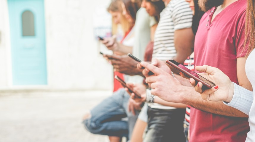 People holding smart phones