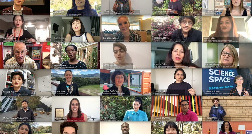 A montage of photos of people appearing in the video.
