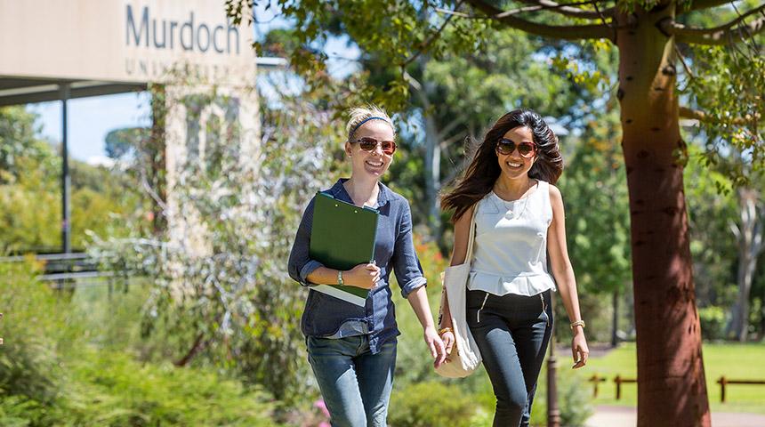 Students enjoying campus life at Murdoch
