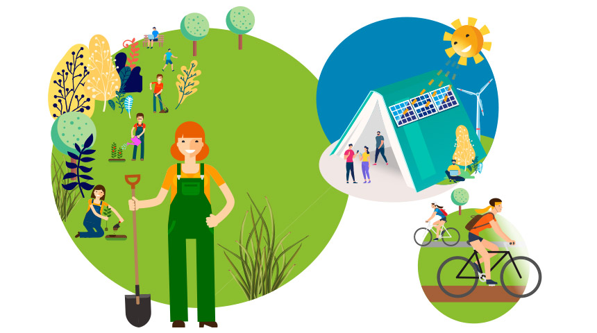 Illustration of eco-friendly life with people planting trees and using solar panels