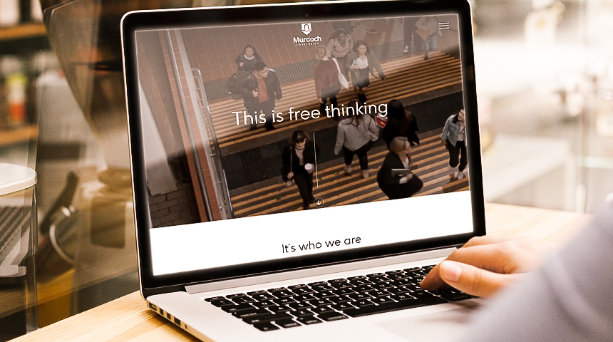 This is Free Thinking microsite on laptop
