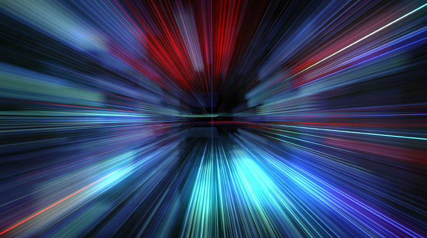 Image of warp speed through space