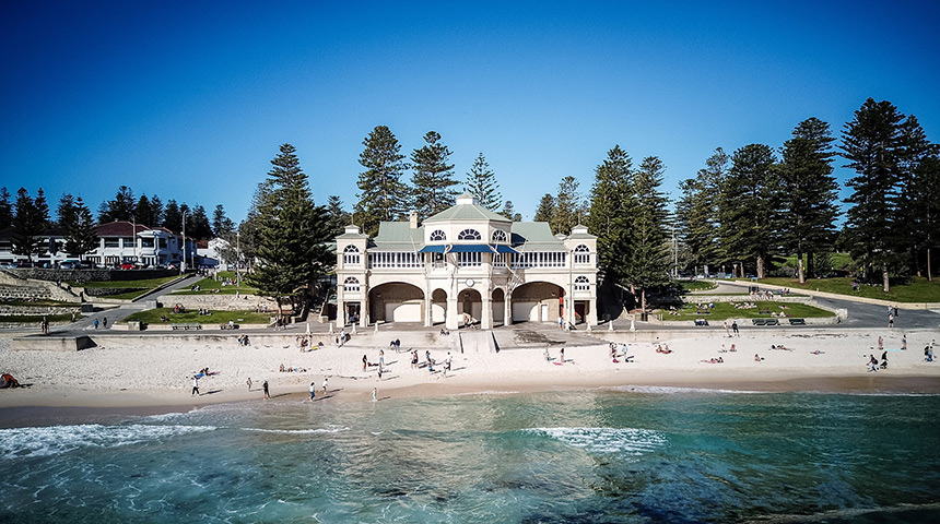 Shot of the Tea Rooms at Cottesloe Beach taken from the water