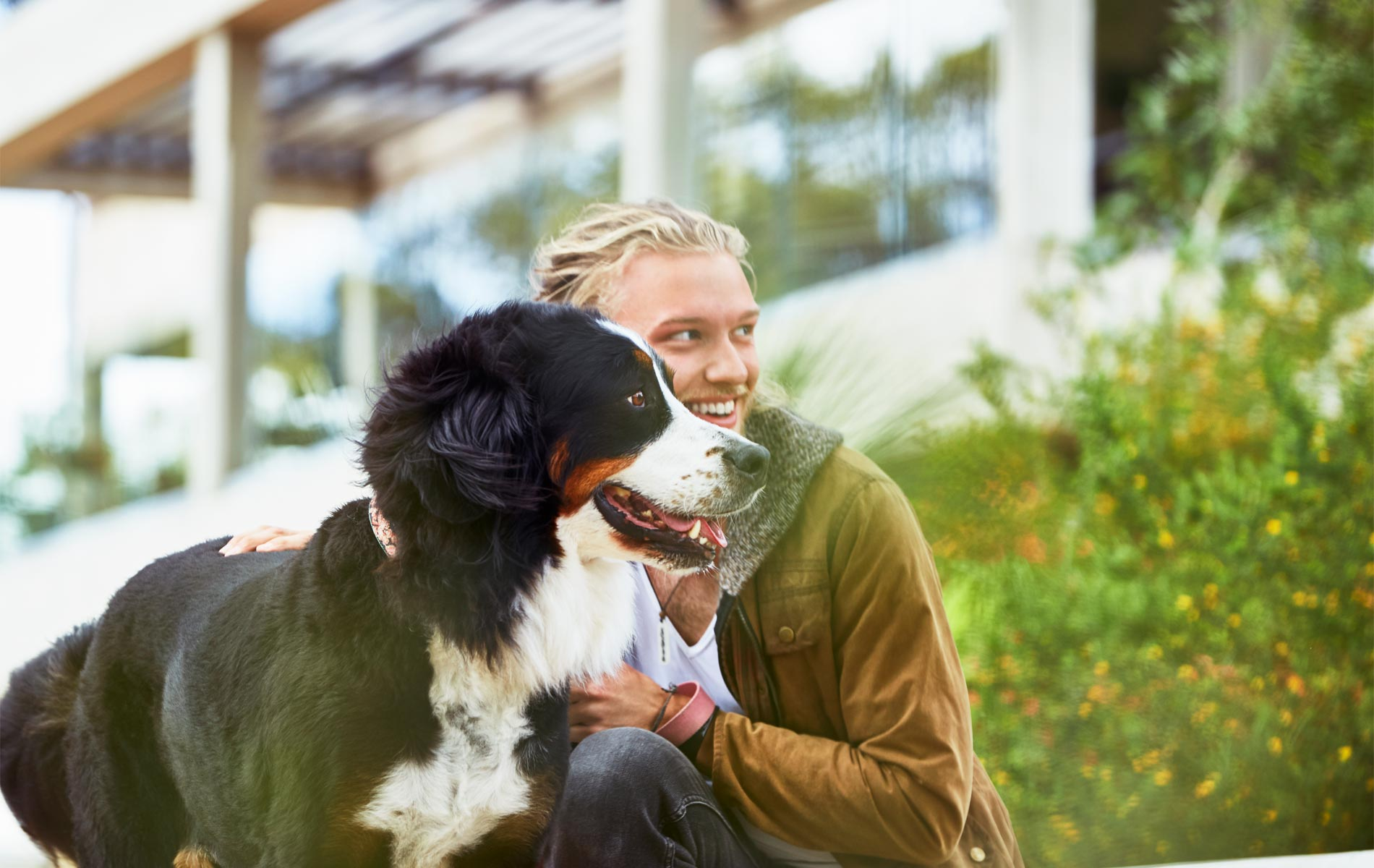 Murdoch student James Norton on campus with his dog
