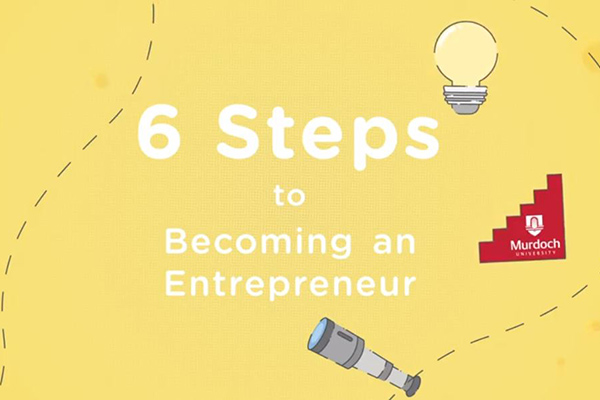 Animation still with light bulb and telescope on yellow background with the words 6 steps to becoming an entrepreneur