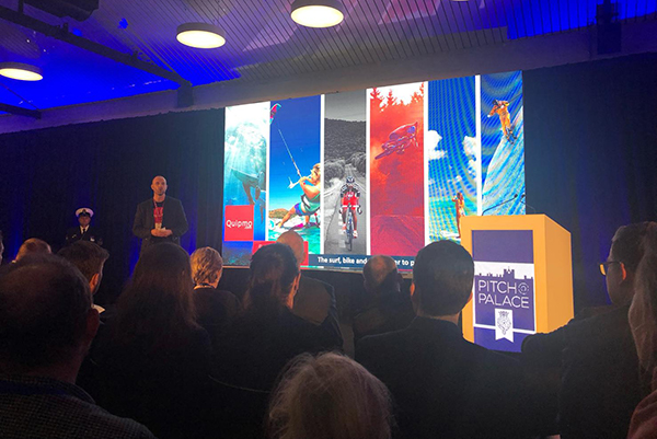 Evans presents his company to a crowd at the Pitch@Palace competition