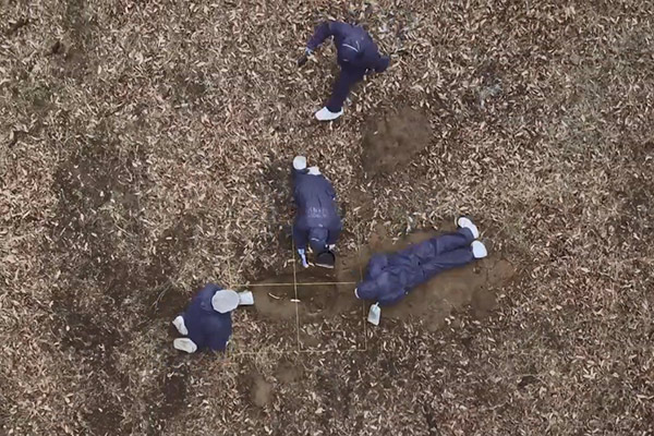 birds eye view of students excavating grave