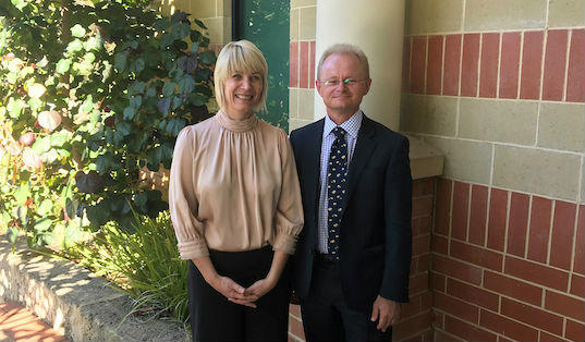 Cristy Sercombe posing with Mark Schipp