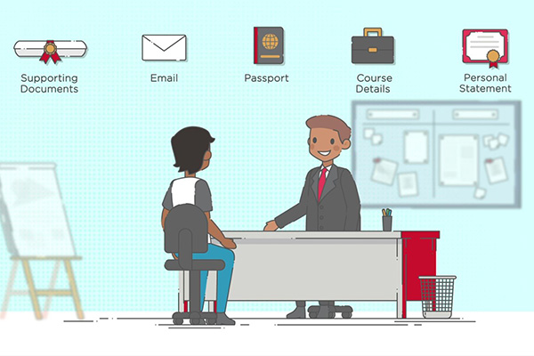 Animation still of a student meeting an agent with required documents hovering above