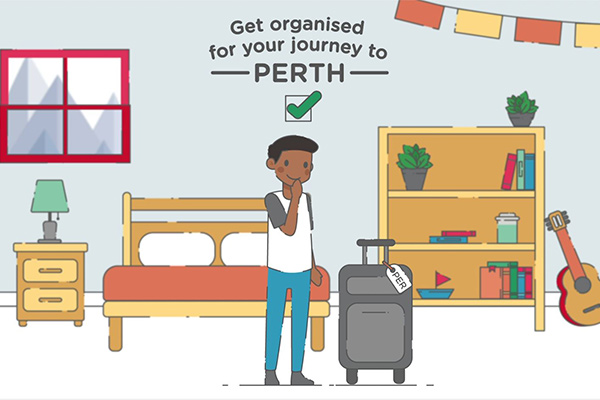 Animation still of a student in their bedroom with a piece of luggage marked for Perth